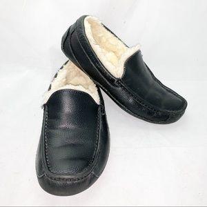 Men's UGG Black Leather Slippers
